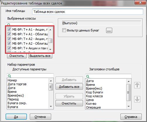 Настройка таблицы всех сделок в терминале QUIK